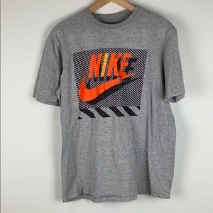 Nike Embroidered Grey  & Orange Swoosh T-Shirt